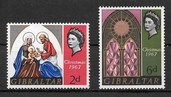 sellos navidad Gibraltar 1967