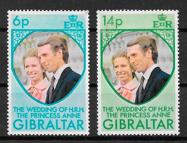 colección sellos personalidades Gibraltar 1973