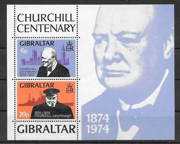 colección sellos personalidad Gibraltar 1974