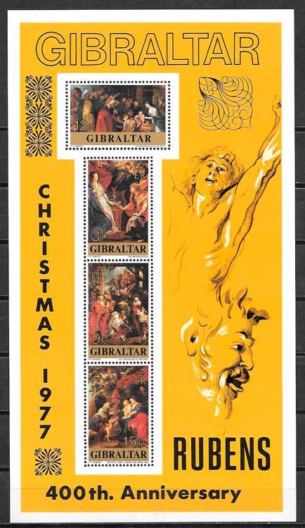 sellos arte Gibraltar 1977