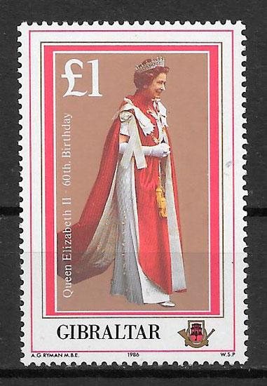 colección sellos personalidades Gibraltar 1986