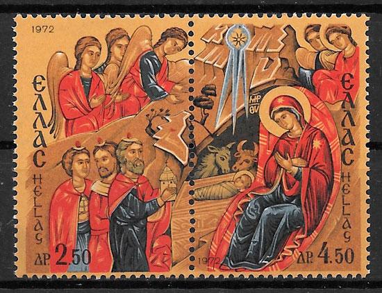 colección sellos navidad Grecia 1972