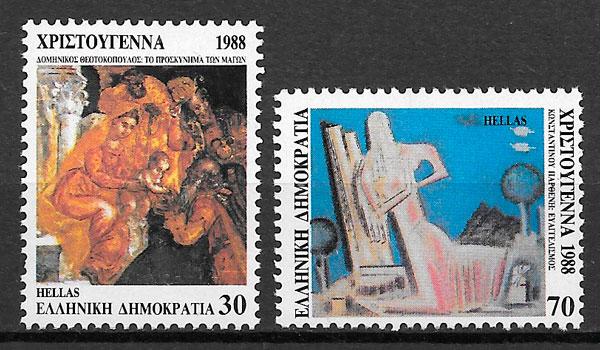 sellos navidad 1988 Grecia