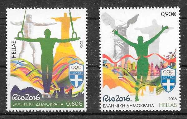 filatelia colección deporte Grecia 2016