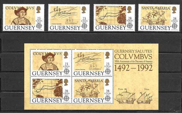 Colección sellos Tema Europa Guernsey 1992