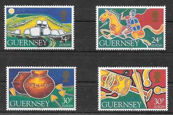 Sellos Tema Europa Guernsey 1994