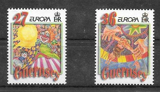Sellos Tema Europa Guernsey 2002
