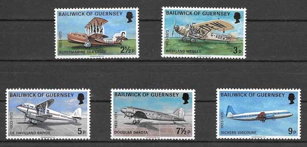 Sellos Correo aéreo de Guersey 1973
