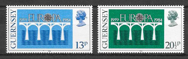 selos Europa Guernsey 1984