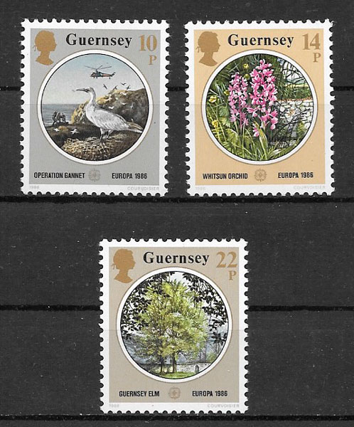 sellos Europa Guernsey 1986
