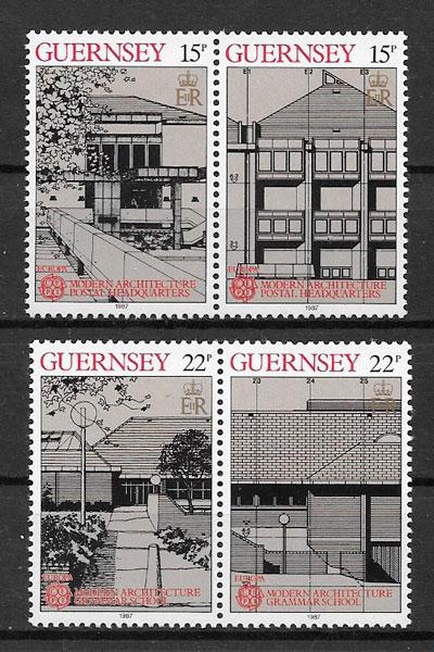 filatelia colección Europa Guernsey 1987