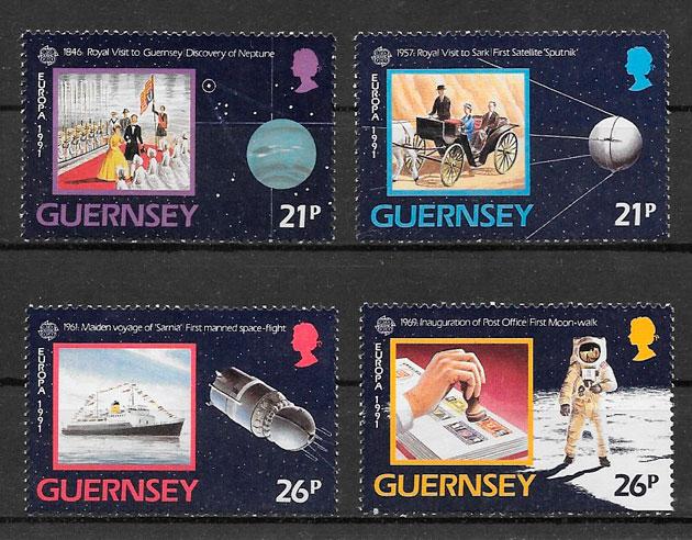 sellos Europa Guernsey 1991