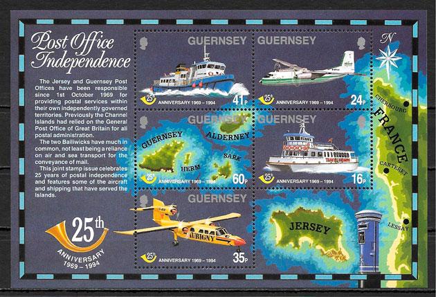 colección sellos transporte Guerseny 1994