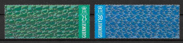 sellos Europa Guernsey 1995