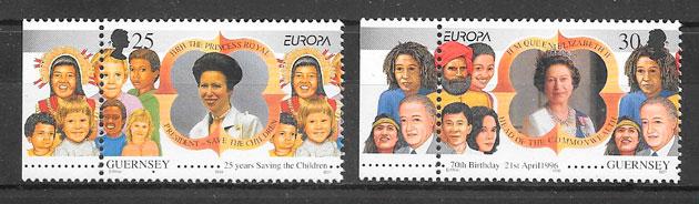 filatelia colección Europa Guernsey 1996