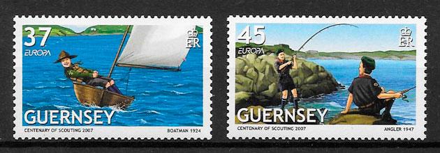 filatelia colección Europa 2007 Guernsey