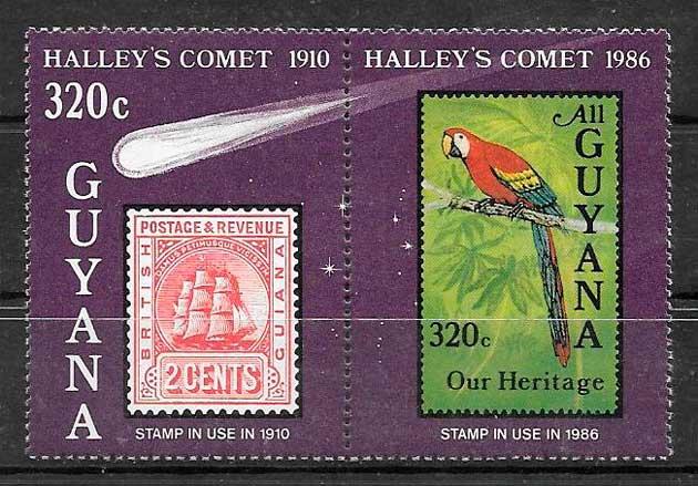 filatelia espacio Guyana 1986