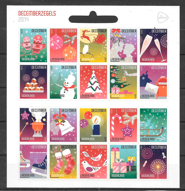 sellos navidad Holanda 2014