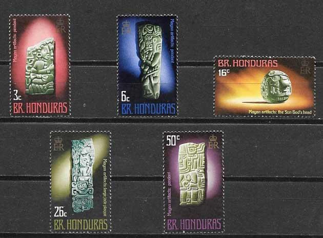 Filatelia arte Hondura Británica 1972