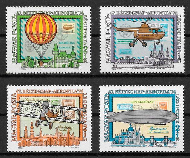 colección sellos transporte Hungría 1974