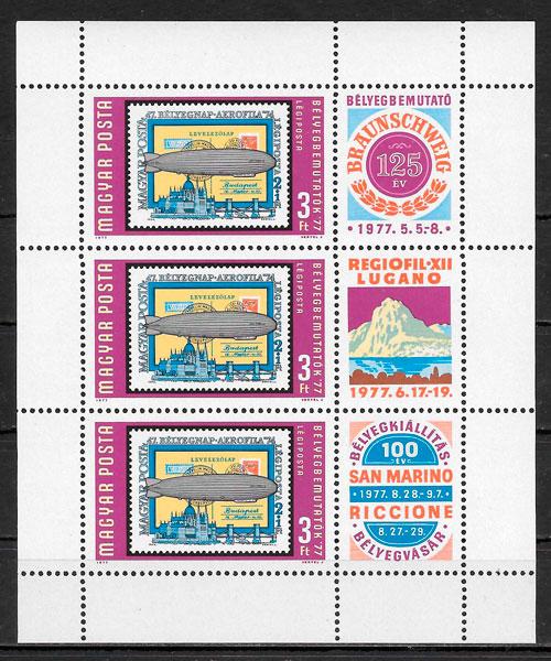 colección sellos transporte Hungría 1977