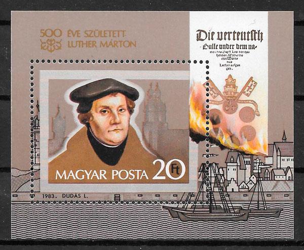 filatelia colección personalidades Hungría 1983