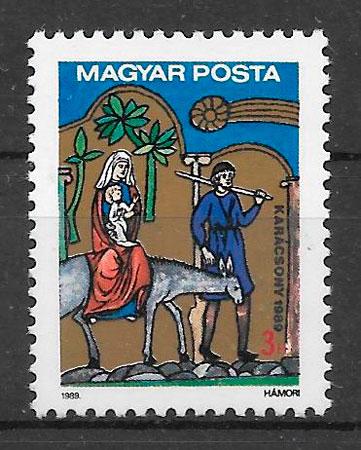 colección sellos navidad Hungría 1989
