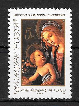 sellos navidad Hungría 1990