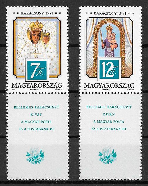 filatelia navidad Hungría 1991