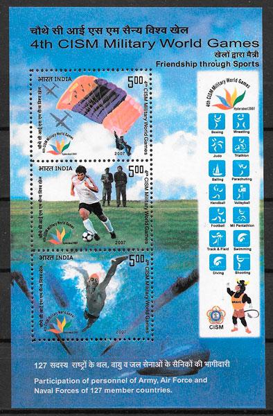 filatelia colección deporte India 2007