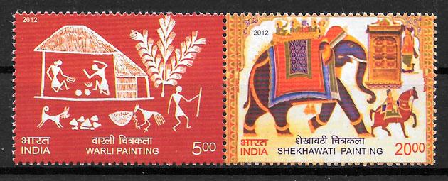 filatelia colección arte India 2012