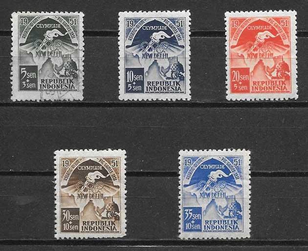 Filatelia deporte Indonesia 1951