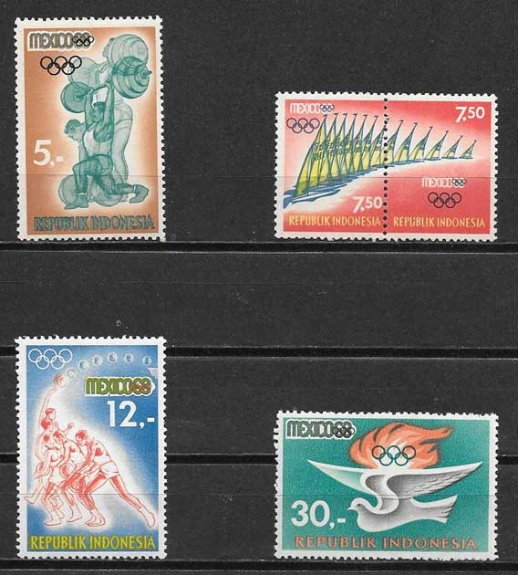 sellos deporte Indonesia 1968
