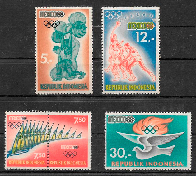 filatelia deporte Indonesia 1968