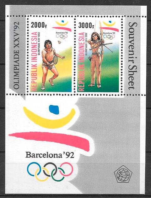 colección sellos deporte Indonesia 1992