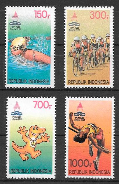colección sellos deporte Indonesia 1993