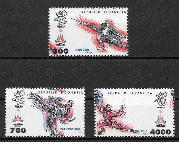 filatelia colección deporte Indonesia 1998