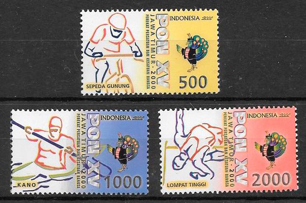 filatelia colección deporte Indonesia 2000