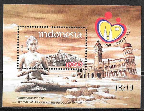 colección sellos arquitectura y turismo Indonesia 2014