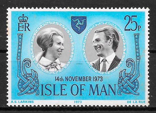 sellos personalidades Isla de Man 1973