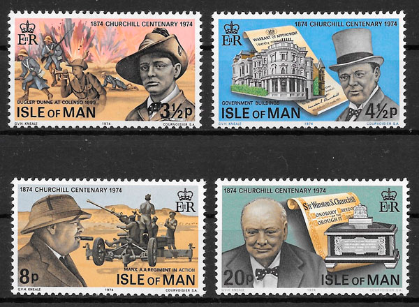 sellos personalidad Isla de Man 1974