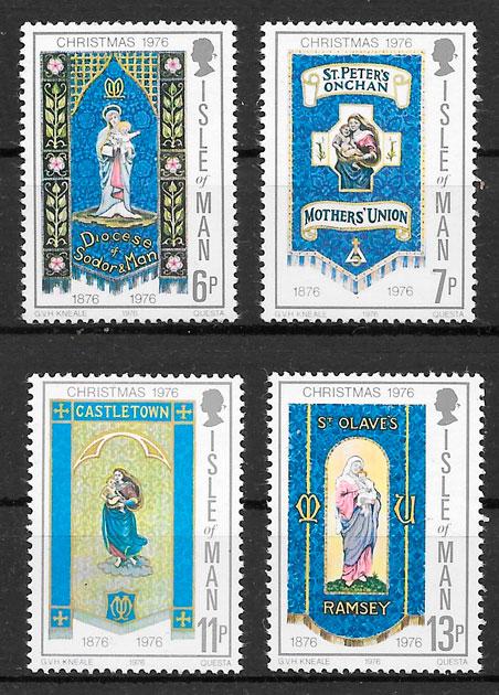 filatelia colección navidad Isla de Man 1976