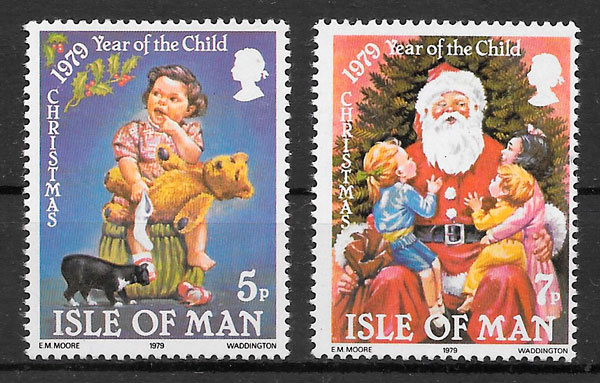sellos navidad Isla de Man 1979
