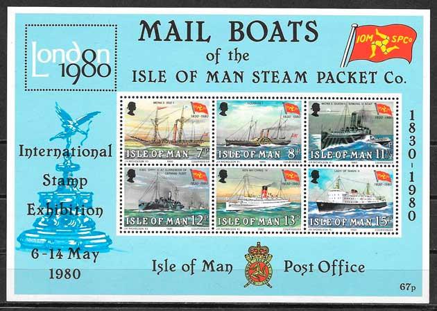 sellos transporte Isla de Man 1980