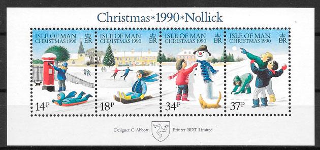 colección sellos navidad Isla de Man 1990