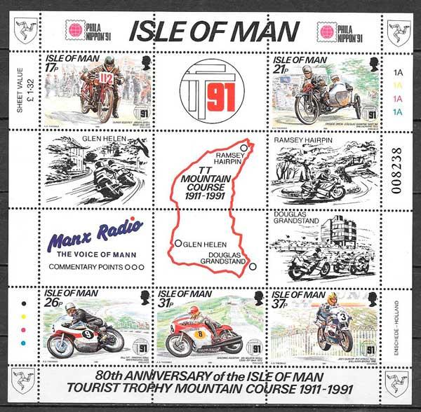 filatelia deporte Isla de Man 1991