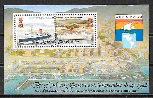 colección sellos transporte Isla de Man 1992