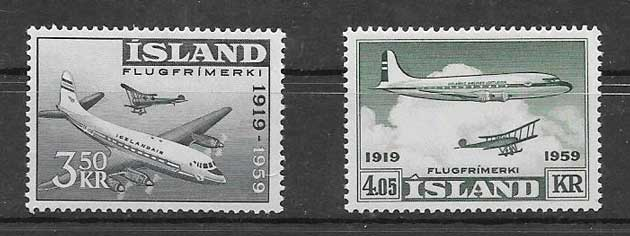 Filatelia transporte aéreo Islandia 1959