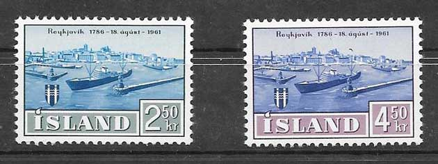Filatelia Transporte marítimo Islandia 1961