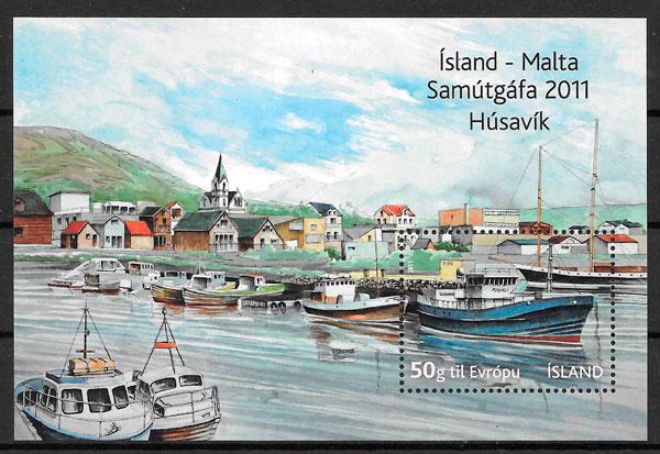 colección sellos transporte Islandia